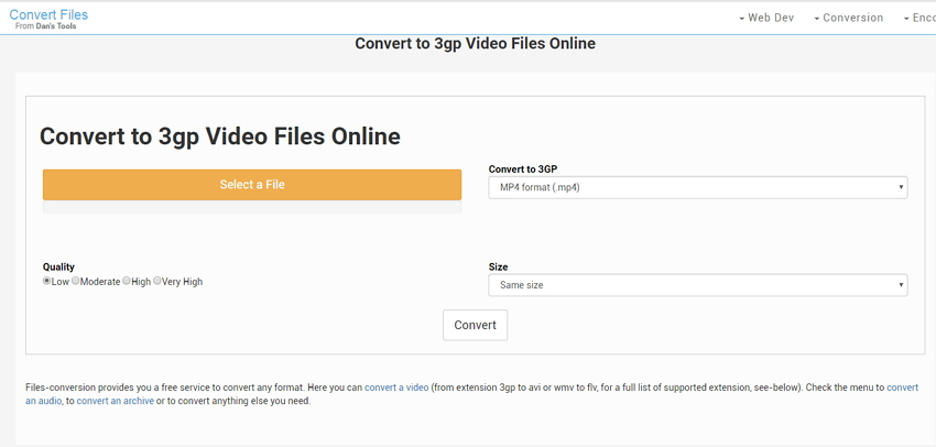 online 3GP Converter: Files conversion