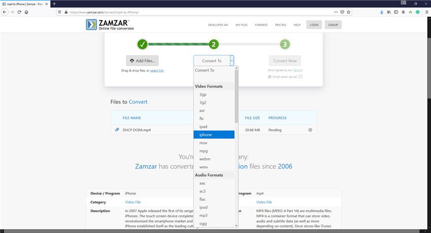Zamzar convert MP4 to iPhone