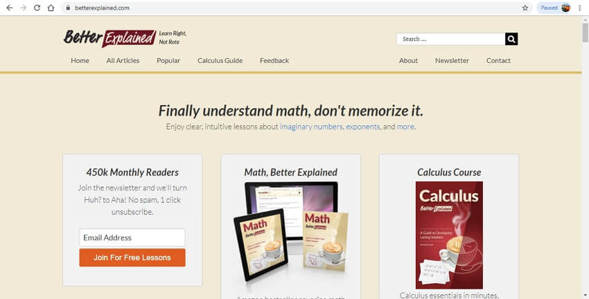math learning sites - BetterExplained