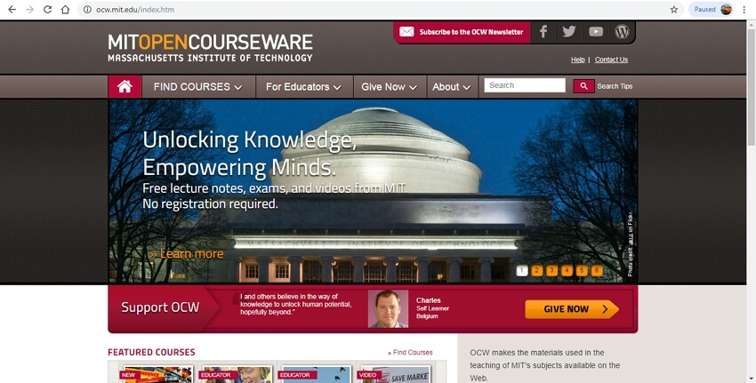 math learning sites - MIT Open Courseware