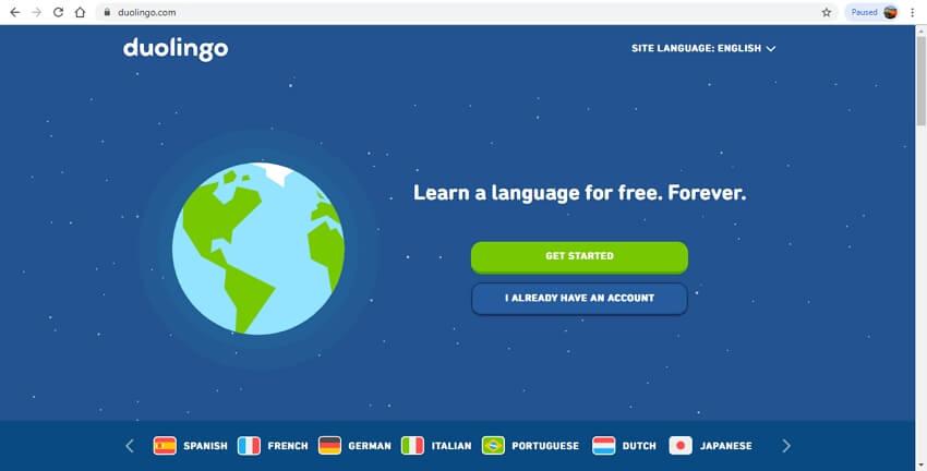 language learning sites - Duolingo