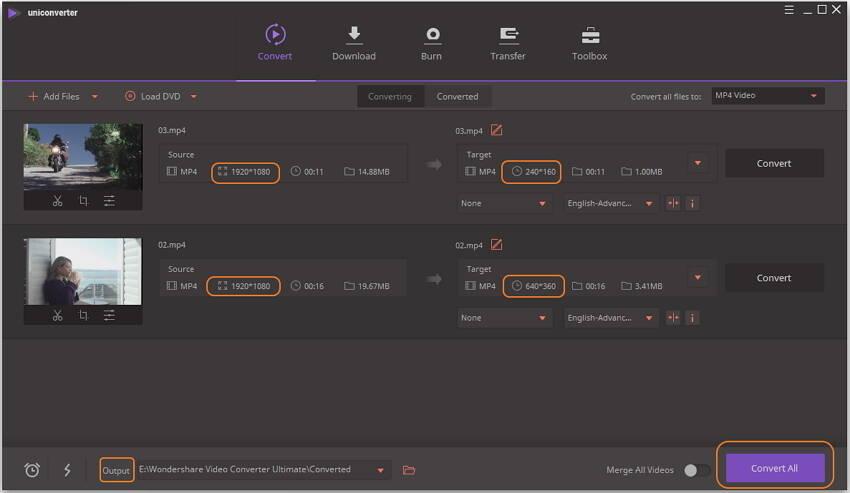 Videos konvertieren und die Auflösung ändern
