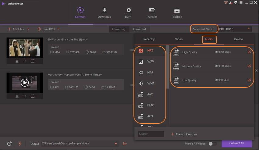 choose output audio format