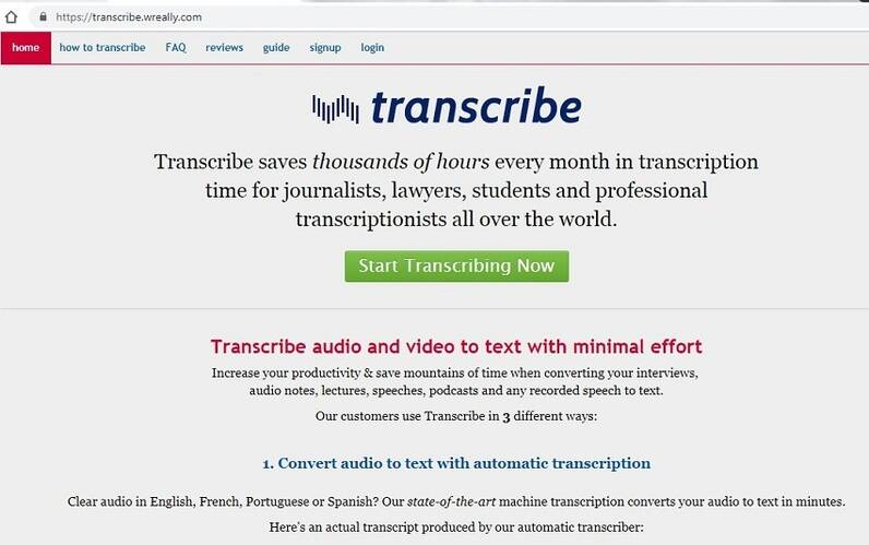 Online-Video zu Text Konverter Transcribe