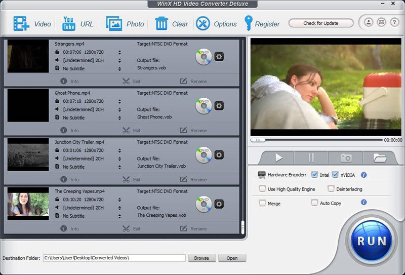 WinX HD Video Converter Deluxe for compressing 1080p to 720p