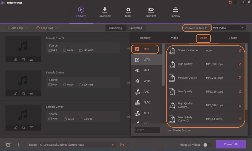 select output format for songs