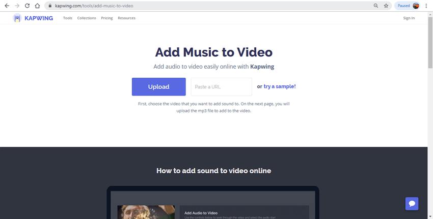 audio und video online zusammenführen - Kapwing