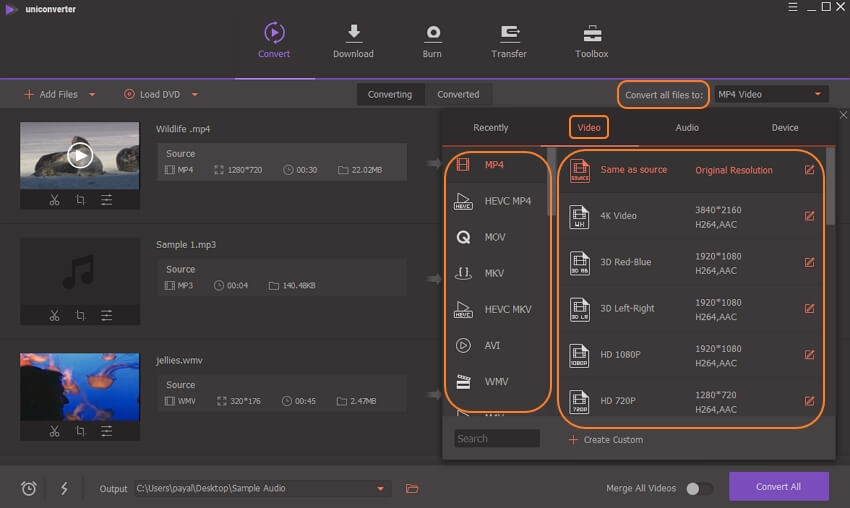choose output format for video and audio files
