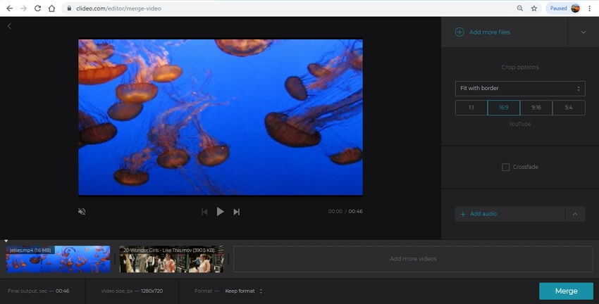 online video merger - Clideo