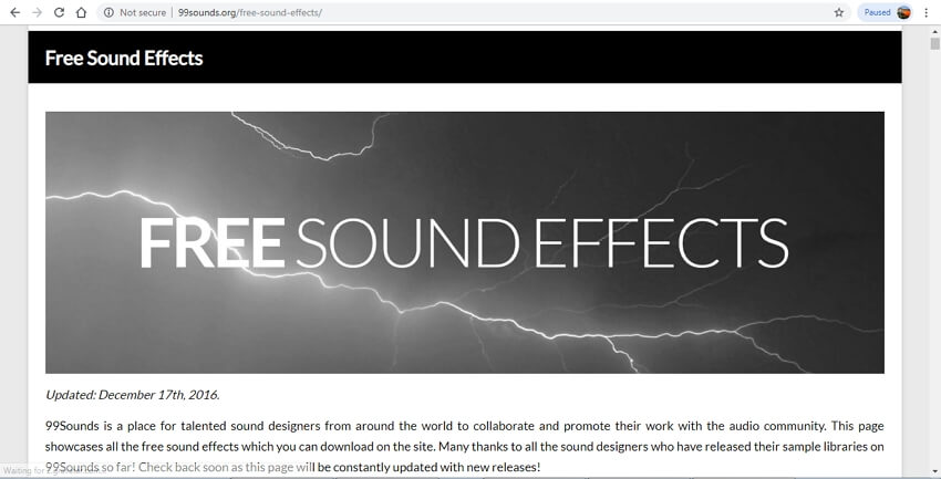 10 sound effects sites - 99Sounds