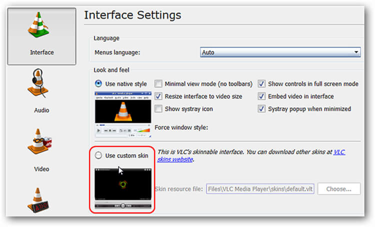 VLC Option benutzerdefiniertes Skin