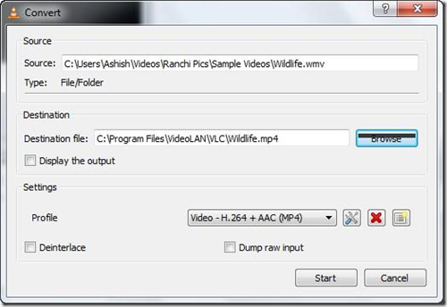 Trasformare VLC in un convertitore Video