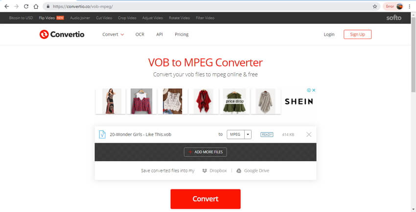 convertisseur VOB en MPEG en ligne - Convertio