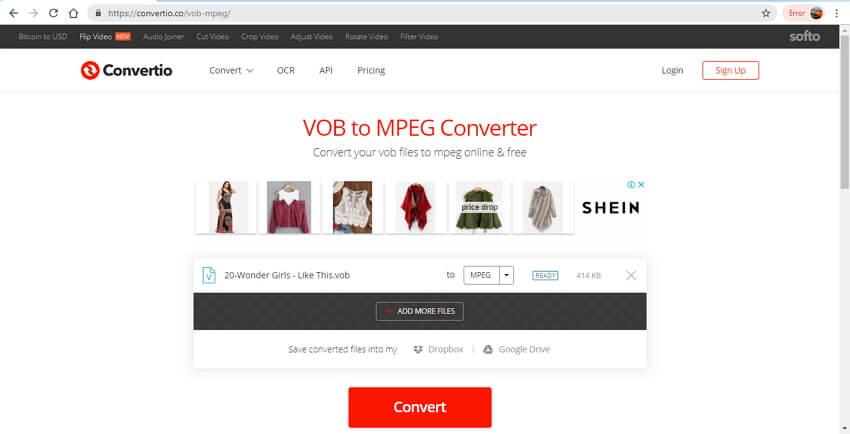 online VOB to MPEG converter - Convertio