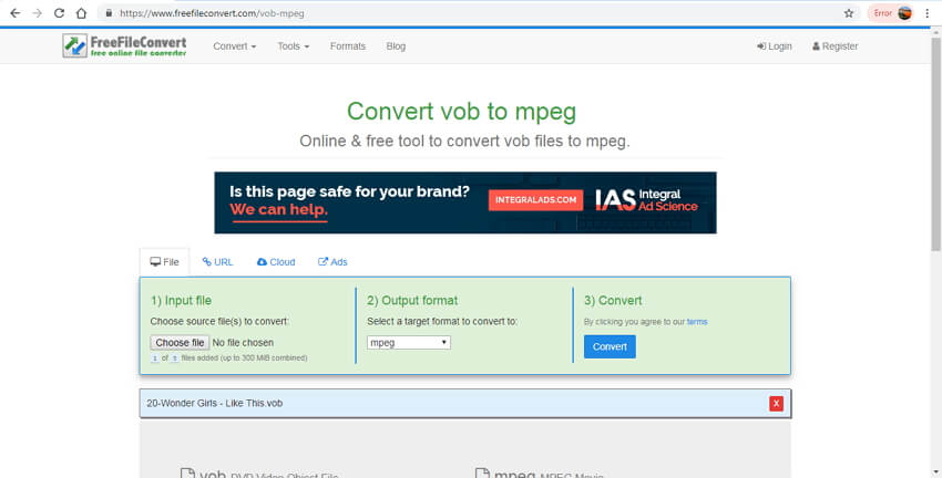 convertitore online VOB in MPEG - FreeFileConvert