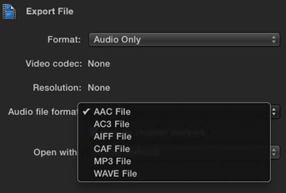 audio format setting