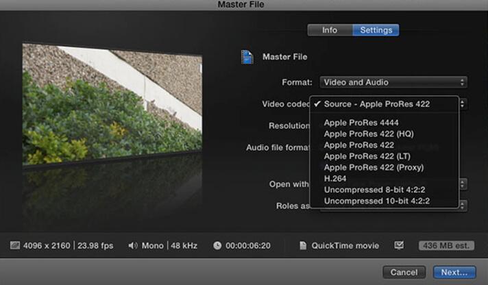 Master-Datei-Einstellungen