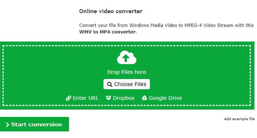 Online Convert convertidor WMV a MP4