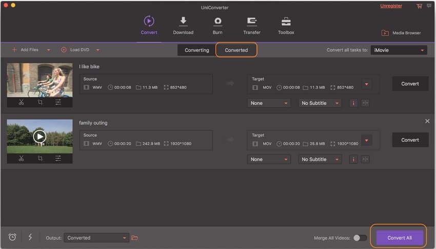 start converting WMV to iMovie