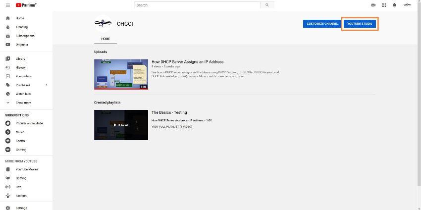 abra o editor do youtube