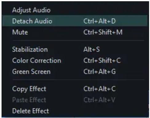 opção de desconexão de áudio