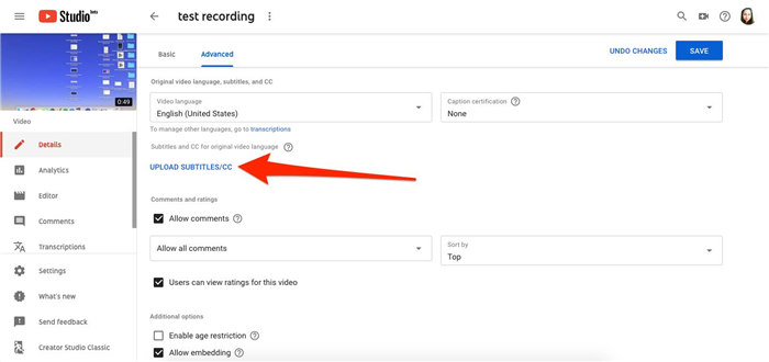 upload the youtube video