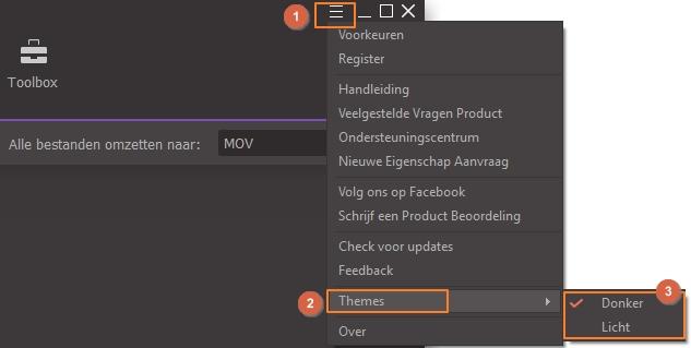 Set Wondershare UniConverter - change themes
