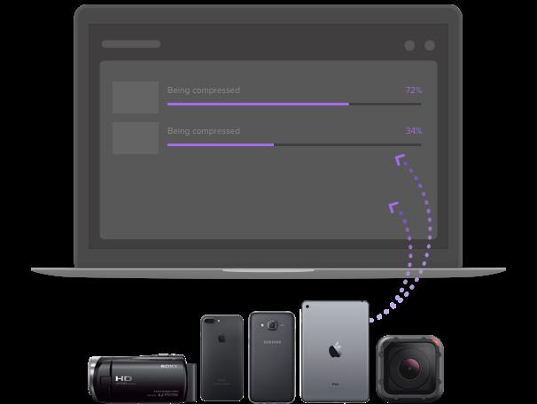 Compresser des vidéos depuis plusieurs appareils